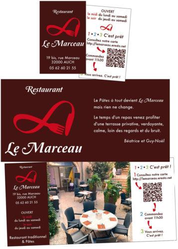 Cartes et prospectus pour le restaurant Le Marceau à Auch